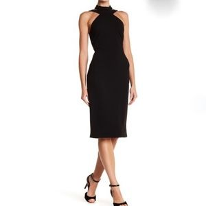 Bebe Little Black Mock Neck Strappy Crepe Dress 10
